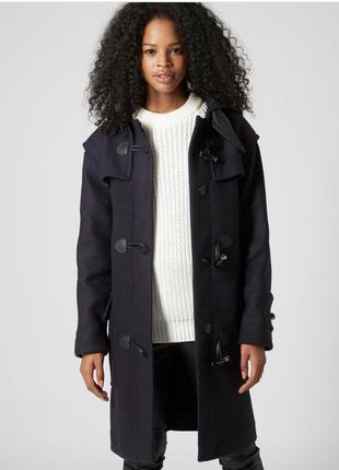 Topshop premium пальто дафлкот шерсть 10 размер оверсайз