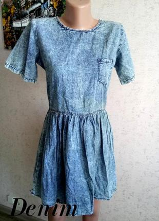 Uk12/es40/38 стильное платье с облегчённой джинсы, с отрезной талией denim