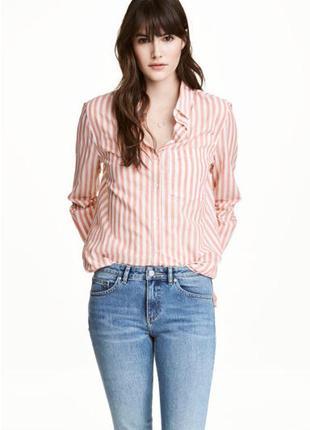 Рубашка в полоску из легкого дышащего хлопка h&m