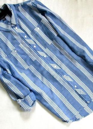 Primark/актуальная хлопковая рубашка в полоску с рукавами на подкотку