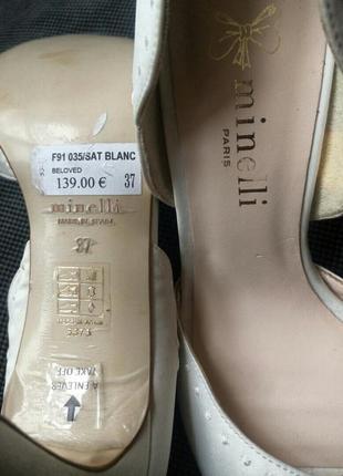 37-38р minelli новые атласные белые босоножки,туфли4 фото