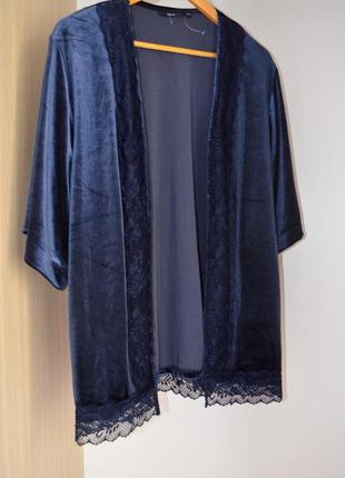 Бархатное кимоно кардиган с кружевом удлененный