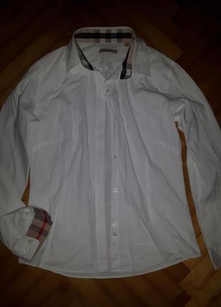 Белая приталенная рубашка от burberry brit! p.-m/l! оригинал!