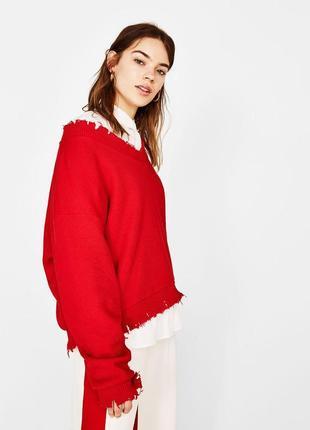 Красный свитер , свитшот bershka