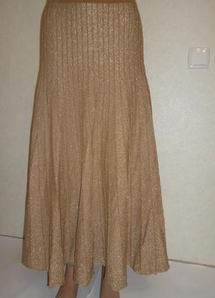 Золотая блестящая длинная юбка под плиссе kaleidoscope