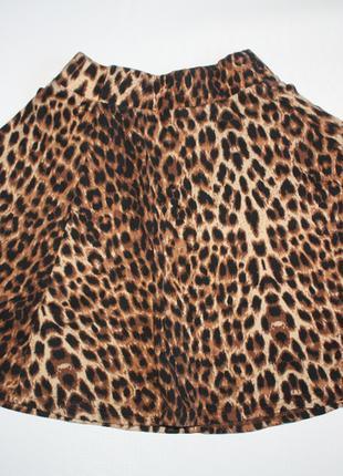 Юбка мини, короткая, солнце клеш леопардовая (принт леопард, коричневый) (к014)