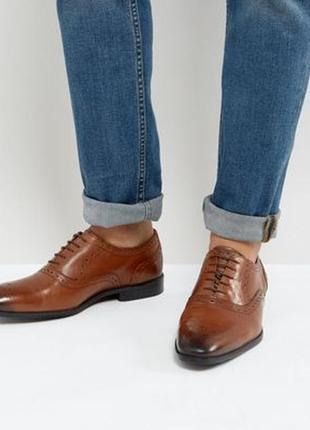 Коричневые мужские  оксфорды asos, туфли лоферы