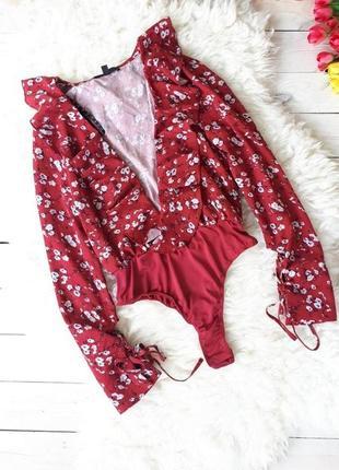Боди блуза с рюшами от missguided