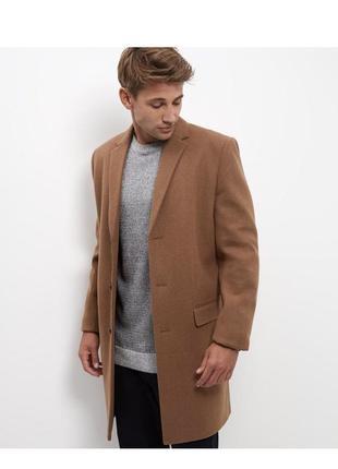 Стильное шерстяное мужское пальто классическое с карманами на пуговицах