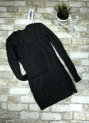 Нежный вязаный свитер удлиненный, джемпер кружевной тёплый