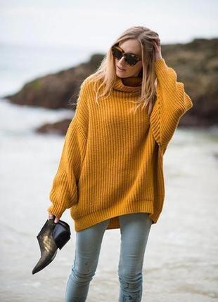 Новый горчичный свитер грубая вязка с горловиной  большой размер oversize