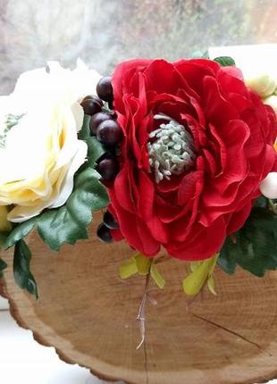 Венок с большими красными цветами веночек с маками украинский венок киев веночки