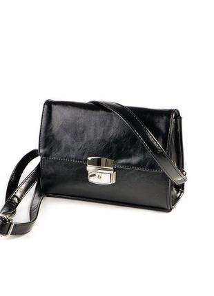 Черная маленькая сумка клатч кроссбоди через плечо с защелкой на замочке