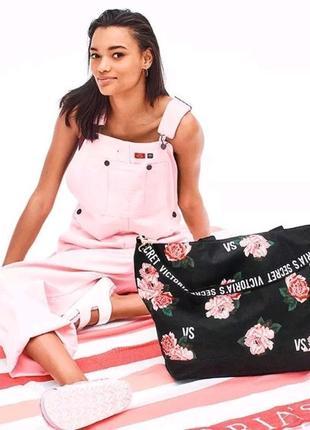Victoria's secret сумка большая для путешествий спорта оригинал с замком с цветами шоппер