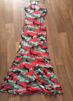 Платье в пол милитари