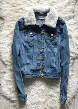 Джинсовка джинсовый пиджак куртка с мехом