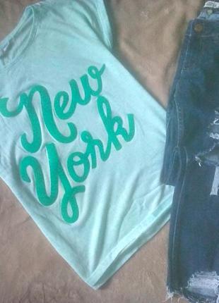 Базовая футболка с надписью,оттенок тиффани h&m xs
