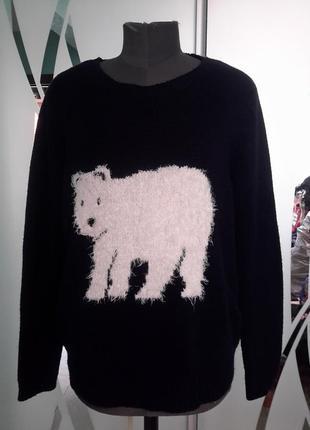 Пуловер/джемпер/кофта с интересным  принтом большой размер