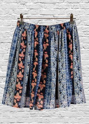 Шифоновая юбка короткая с узорами