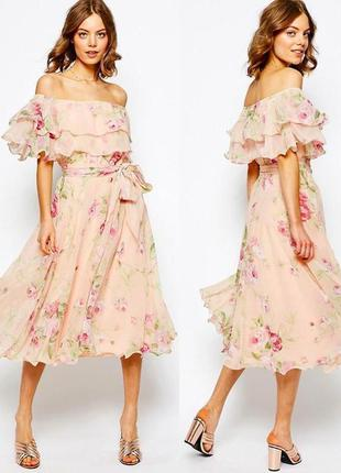 Нарядное платье asos с открытыми плечами оборками и поясом s-m xl-xxl