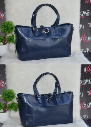 Женская синяя кожаная сумка с бесплатной доставкой и гарантией 6 месяцев