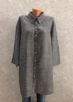 Рубашка блуза льняная большой размер
