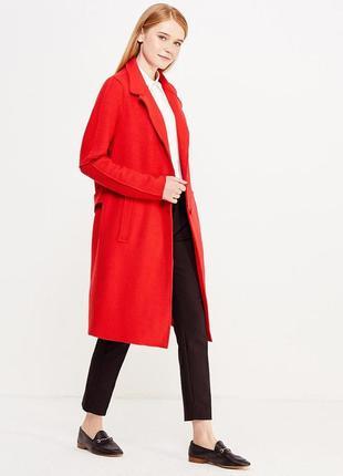 Классическое, красное, шерстяное пальто, длинное1 фото