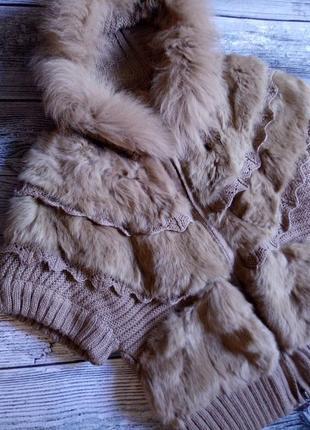 Теплая вязаная кофта с мехом кролика. размер уневерсальний. (см.замеры)