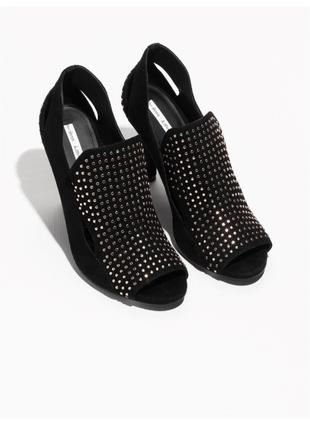 Новые чёрные 100% замш и кожа туфли с открытым носком босоножки лёгкие батильоны
