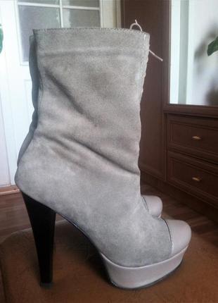 Полусапожки осенние кожа, бренд vero cuoio, италия, серые, высокий каблук