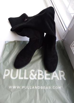 Замшевые ботфорты чулки pull & bear