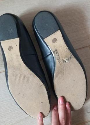 Черные кожаные балетки туфли4