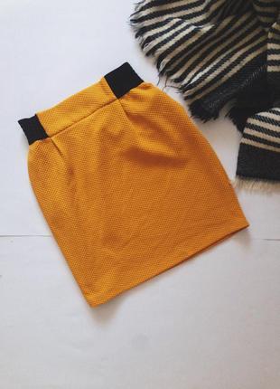 Плотная юбка горчичного цвета от naf naf