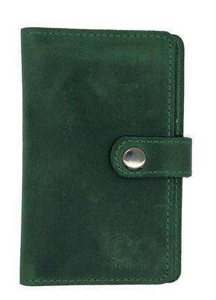 Портмоне кошелек натуральная кожа зеленый window