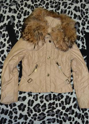 Куртка пуховик, натуральный мех, angel