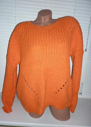 Объемный оверсайз свитер крупной вязки