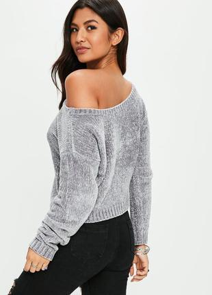 Бархатный свитер оверсайз на одно плече missguided ms250