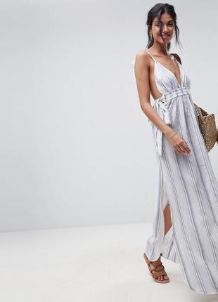 Платье макси в полоску asos design
