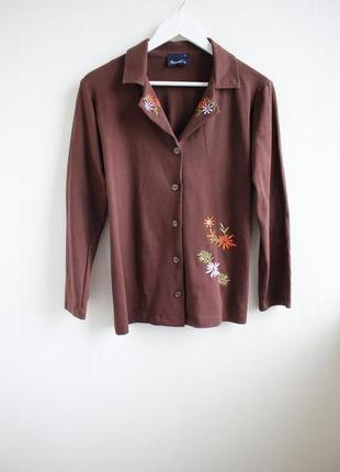 Трикотажный пиджак, жакет с вышивкой denim co