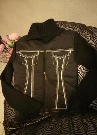 Черная осенняя короткая куртка пиджак вязанка новая