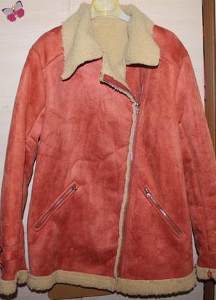 Стильна дублянка косуха подовжена , куртка , дубленка