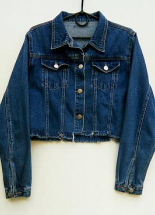 Укороченная джинсовая куртка джинсовка с бахромой