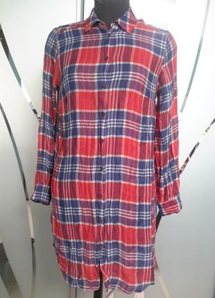 Удлиненная рубашка в клетку (короткое платье)