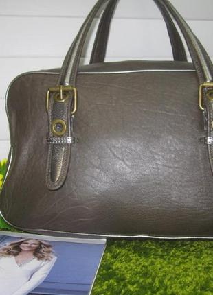 Шикарная кожаная сумка американского бренда kate landry сер № нат. кожа cc9f3bf8bba7d