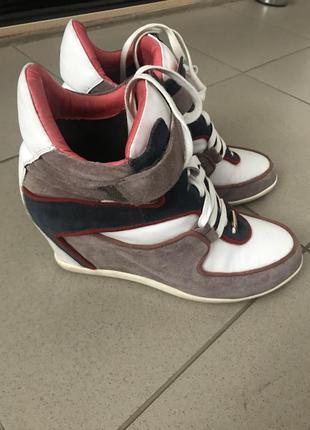 Сникерсы ботинки  натуральная замша кожа