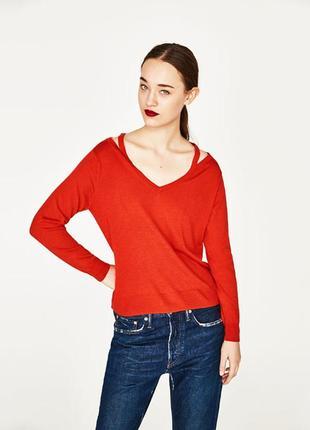 С дырками на плечах кашемировый свитер zara свитшот красный пуловер с разрезами