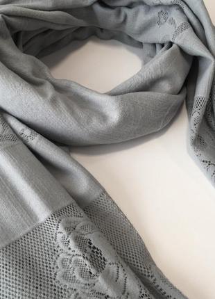 Шарф шаль палантин серого цвета тёплый