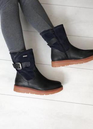 Ботинки tamaris зима натуральная овчина 36 р верх кожа