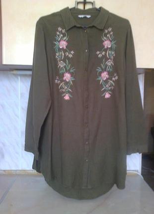 Фирменная рубашка вышиванка лен+вискоза+коттон