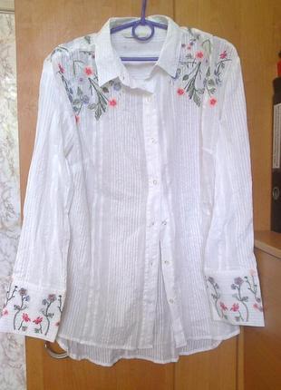Новая фирменная приталеная рубашка вышиванка, коттон